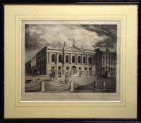 """After Connor & Co, """"Surgeon~s Hall, Dublin"""", black and white engraving, published circa 1828, 29 x"""