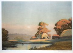 """Joseph Kirkpatrick, """"The Harvest Moon"""" and """"Moonrise"""", pair of coloured aquatints, both signed in"""