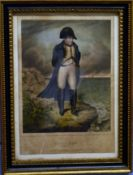 """After W Clerk, """"Napoleon in exile"""", hand coloured lithograph, 26 x 21cm"""