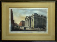 """After S F Brocas, engraved by H Brocas, """"Royal Exchange, Dublin"""", hand coloured engraving, 23 x"""