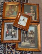 Box of nine antique engravings, mainly maple framed, assorted sizes (9)