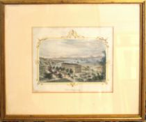 """After H Billings, engraved by F Freeman of Boston, """"View of Hong Kong"""", hand coloured engraving,"""