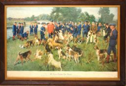 """Terence Cuneo, """"The Eastern Counties Otter Hounds - the meet on the Wensum"""", coloured print,"""