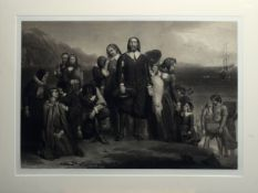 """After Charles Lucy, engraved by W H Simmons, """"The Landing of the Pilgrim Fathers, John Carver"""","""