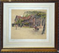 """Cecil Aldin, """"Ockwells Manor, Berkshire"""", artists coloured proof with publishers blind stamp,"""