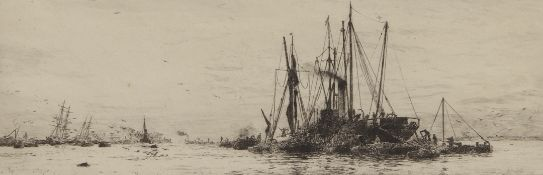 """William Lionel Wyllie, RA, RI, RE (1851-1931), """"Unloading cargo on the Thames"""", black and white"""