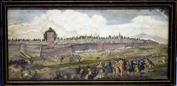 Siege of a city, 18th century hand coloured engraving, 19 x 41cm