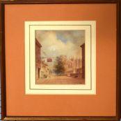 Mary Pyke, Street scene, watercolour, 15 x 12cm