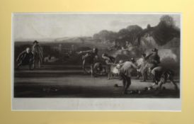 """After George Harvey, engraved by W H Simmons, """"The Bowlers"""", black and white mezzotint, published by"""