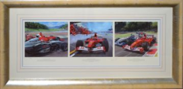 """Tony Smith, """"Michael makes his point"""", triptych artist~s coloured proof, signed and numbered 271/395"""