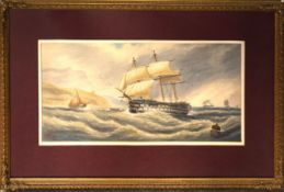 C P Williams, HMS Nile off Torbay, watercolour, signed and dated 1874 lower left, 22 x 48cm