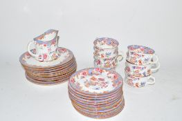 LATE 19TH CENTURY CAULDON PART TEA SET COMPRISING PLATES, CUPS AND SAUCERS