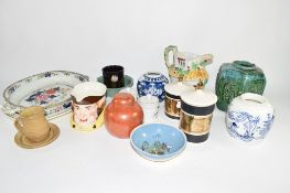 QUANTITY OF CHINA WARES INCLUDING A GINGER JAR, ORIENTAL GREEN GLAZED POTTERY VASE ETC