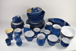 QUANTITY OF DENBY WARE BLUE GLAZED KITCHEN ITEMS INCLUDING TUREENS, DINNER PLATES, SIDE PLATES, CUPS