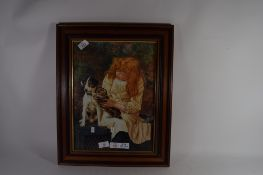 PRINT OF A YOUNG GIRL WITH KITTEN AND DOG IN WOODEN FRAME