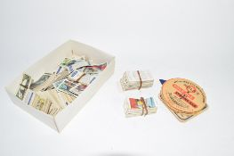 BOX CONTAINING QUANTITY OF CIGARETTE CARDS AND BEER MATS