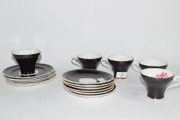 AYNSLEY PART TEA SET COMPRISING FIVE CUPS, SAUCERS AND SIDE PLATES