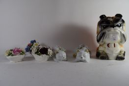 LARGE POTTERY MODEL OF A BULLDOG WITH PAIR OF POTTERY CATS AND OTHER POTTERY FLOWER HOLDERS