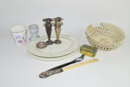GROUP OF POTTERY ITEMS INCLUDING TWO PIERCED BOWLS, TOGETHER WITH PAIR OF SILVER COLOURED VASES