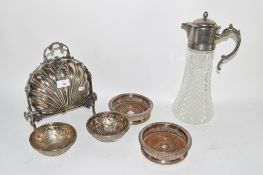 GROUP OF SILVER COLOURED METAL WARES INCLUDING BOWLS WITH DEER DECORATION AND PLATED SERVING DISH