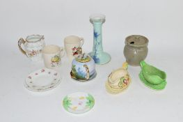 GROUP OF POTTERY WARES INCLUDING GREEN GLAZED CANDLESTICK WITH LANDSCAPE DECORATION