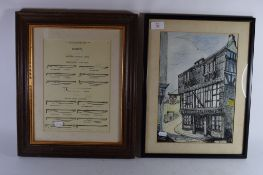 WATERCOLOUR OF AGINCOURT HOUSE, DARTMOUTH TOGETHER WITH A FRAMED PRINT OF WHIPS