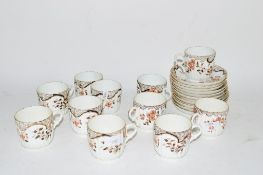 19TH CENTURY PART TEA SET COMPRISING 10 CUPS AND SAUCERS