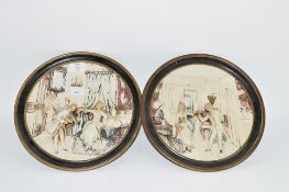 PAIR OF CONTINENTAL POTTERY WALL PLAQUES, RELIEF DECORATED WITH CLASSICAL FIGURES