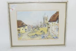 WATERCOLOUR OF THE VILLAGE GREEN, LUSTLEIGH, SIGNED JOYCE HILL