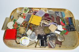 TRAY OF COSTUME JEWELLERY AND ASSORTED ITEMS