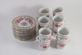 PORCELAIN TEA SET COMPRISING TEN COFFEE CANS AND SAUCERS MADE IN CHINA