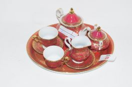 MINIATURE CROWN PORCELAIN TEA SET AND TRAY COMPRISING TEA POT, MILK JUG, SUGAR BOWL, TWO SMALL