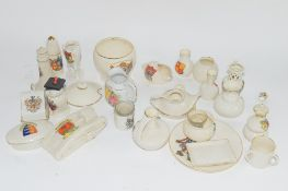 SMALL BOX CONTAINING CRESTED WARES, VARIOUS MANUFACTURERS, INCLUDING AN ARCADIAN MODEL OF A FIRST