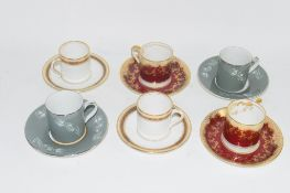 SIX COFFEE CUPS AND SAUCERS, VARIOUS MAKERS, INCLUDING CROWN STAFFORDSHIRE