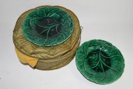 NINE MINTON GREEN GLAZED LEAF MOULDED PLATES