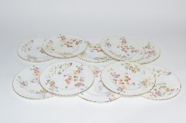 GROUP OF ENGLISH PORCELAIN SIDE PLATES WITH FLORAL DESIGN