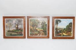 GROUP OF WOODEN COASTERS WITH DUTCH LANDSCAPE SCENES