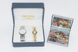 BOX CONTAINING QUANTITY OF COSTUME JEWELLERY AND TWO GENEVA QUARTZ WRIST WATCHES