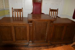 Large three-section break top Council chairman and officer's desk/podium, together with a black