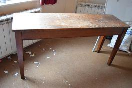 Long oak hall table on square legs