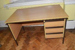 Modern light oak effect three drawer office desk (metal framed)
