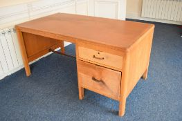 Light oak office desk with two drawers, inset leather top