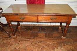 Victorian mahogany long two-drawer side table, on turned legs, end stretchers and having applied