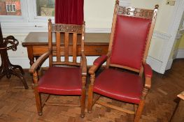 """Extensive set of 13 (12+1) early 20th century armchairs comprising a Mayor's carved oak """"throne"""""""