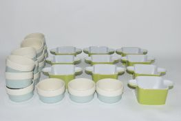CERAMIC KITCHEN WARES INCLUDING SMALL GREEN CERAMIC CONTAINERS
