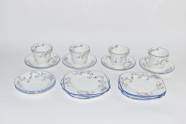 PART SUTHERLAND CHINA MID-20TH CENTURY TEA SET WITH FLORAL DESIGN COMPRISING CUPS, SAUCERS AND