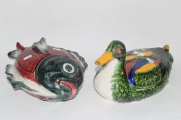 POTTERY MODEL OF A DUCK AND A FURTHER TUREEN AND COVER MODELLED AS A FISH