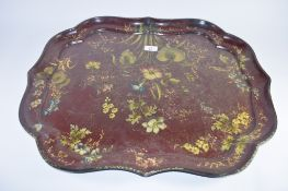 TRAY WITH PAINTED LACQUER DECORATION OF FLOWERS