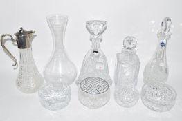THOMAS WEBB CUT GLASS DECANTER, A FURTHER EDINBURGH CRYSTAL DECANTER, CLARET JUG WITH SILVER
