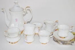 PART ROYAL ALBERT WHITE GLAZED TEA SET COMPRISING MILK JUG, SUGAR BOWL, SIX CUPS AND SAUCERS